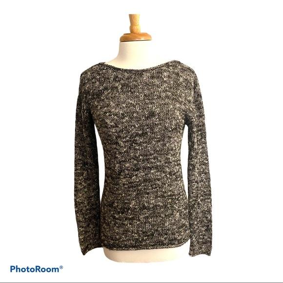 J. Crew Tunic Sweater Black White Stretch Size XS